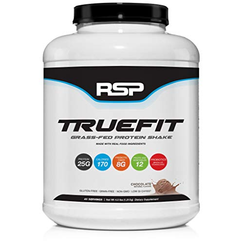 RSP TrueFit (4LB) - Grass Fed Lean Meal Replacement Protein Shake, All Natural Whey Protein Powder with Fiber & Probiotics, Non-GMO, Gluten-Free & No Artificial Sweeteners (Chocolate)