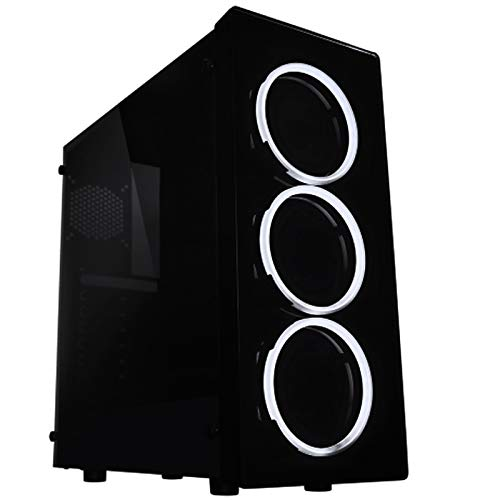 Raidmax NEON Gaming Computer Case See-Through Front and Side Panel with 3 White LED Front Fans Pre-Installed (LED Fans)