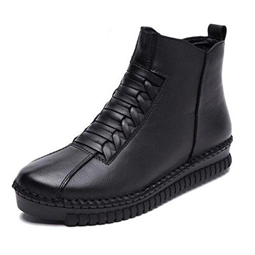 Binying Womens Casual Handgemaakte Lederen Zip Korte Laarzen Zwart