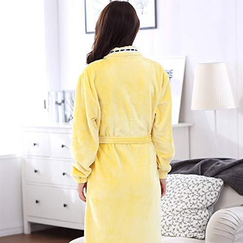 Color De E Mujer Amarillo Franela Xx Coral Para Diseño Xxl large Albornoz Talla Otoño Amarillo Yukata Invierno Jukata EC0qPP