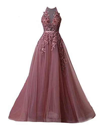 Fanciest Women's Halter Prom Dresses Long 2019 Appliques Backless Evening Formal Dress Plum US4