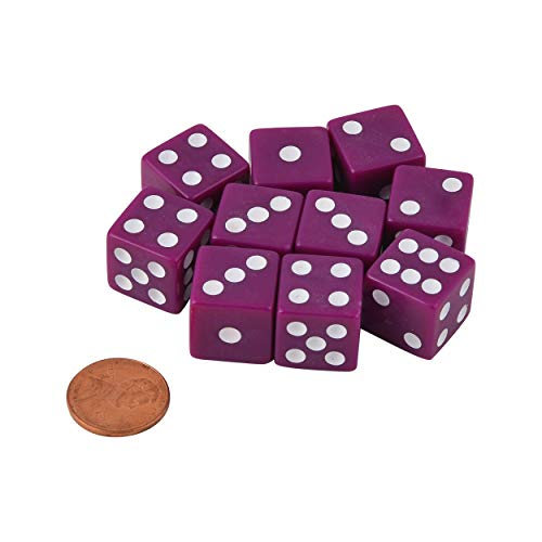 JUSTMIKEO Set of 10 Six Sided D6 16mm Standard Dice Purple with White Pips