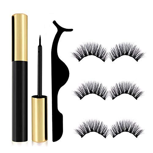 Econobum Magnetic Eyeliner and Lashes Kit, Magnetic Eyelashes for Magnetic Lashes Set, With Reusable Lashes 3 Pairs