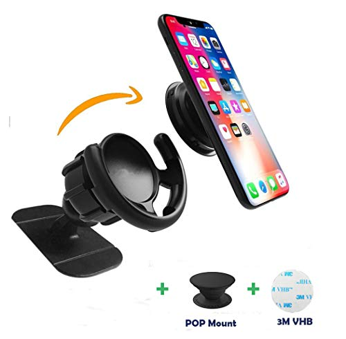 Pop Clip Car Mount Compatible Pop Users - 360° Rotation Dashboard Sticker Holder for GPS Navigation Compatible with Phone MAX/X/8, Note 8/S9+