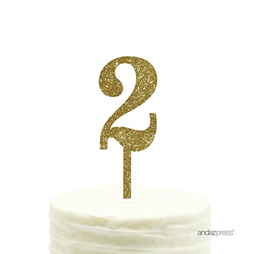 Andaz Press 2nd Birthday and Anniversary Acrylic Cake Toppers, Gold Glitter, Number 2, 1-Pack ()