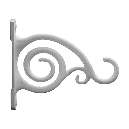 GrayBunny GB-6837A Fancy Curved Hook, White, Cast Iron Wall Hooks For Bird Feeders, Planters, Lanterns, Wind Chimes, As Wall Brackets and More! (Concrete Basket Planter)