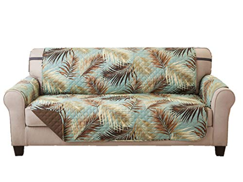 (Elaine Karen Deluxe Reversible Sofa Furniture Protector, Palm/SAGE)