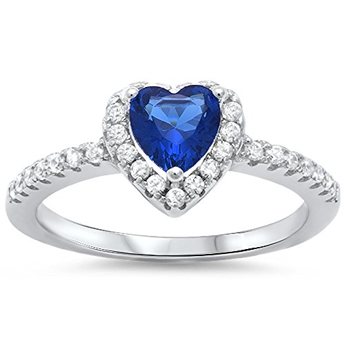 Oxford Diamond Co Halo Simulated Blue Sapphire & Heart Cubic Zirconia .925 Sterling Silver Ring Size 9