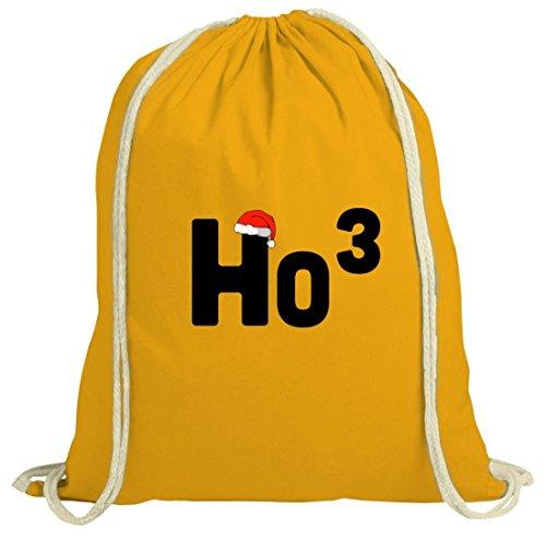 Geschenkidee Weihnachten natur Turnbeutel Gym Bag mit Ho3 Motiv Gelb Natur