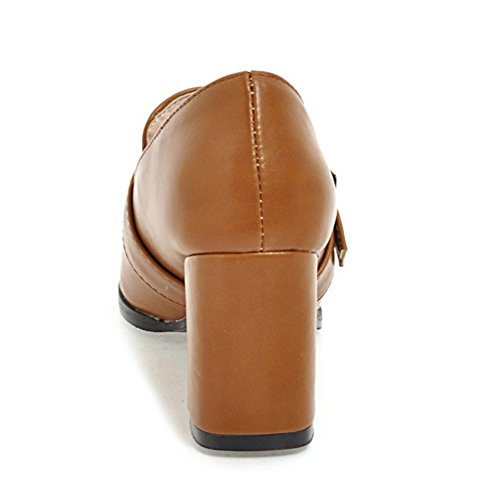 Brown Pumps Toe FANIMILA Women Peep qW0PSngwI