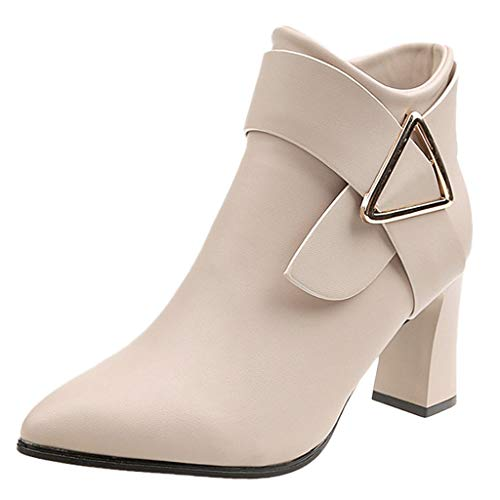 Cenglings Women High Chunky Heel Boots, Pointed Poe Solid Leather Buckle Zipper Slim Slip On Shoes Women Ankle Pump Beige