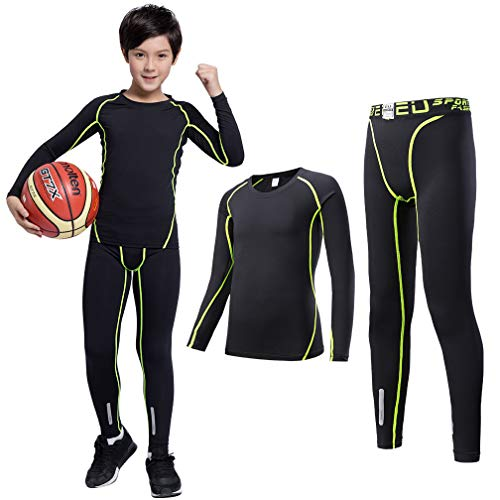 - TERODACO Kids Compression Shirts and Pant 2 Pcs Thermal Underwear Set Base Layer