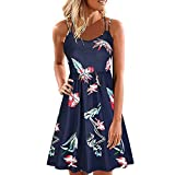 Womens Casual Dress Sleeveless Floral Print Back Crossover A Line Pleated Flowy Hem for Summer (XL, Navy)