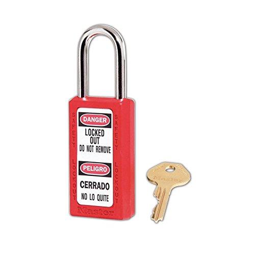 411 Padlock - Master Lock 411RED Keyed Different Safety Lock Padlock, Red