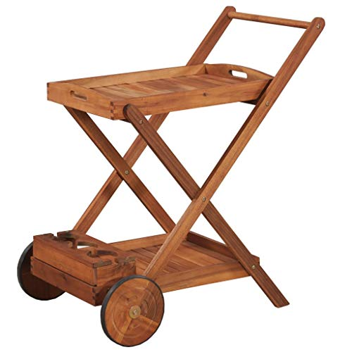 Festnight Kitchen Trolley Cart Acacia Wood Rolling Island Tea Serving Cart with 2 Tray for Garden Patio Dining Room Indoor and Outdoor Use from Festnight