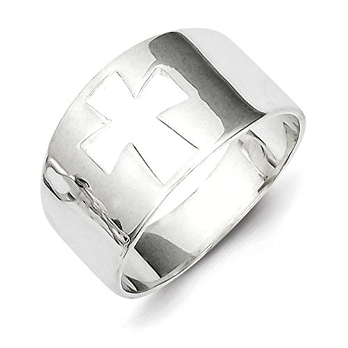 (925 Sterling Silver Polished Cross Cutout Ring Size 8)