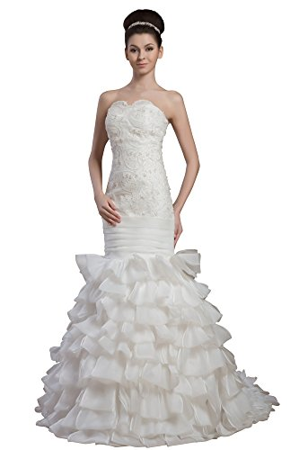 Vogue007 Womens Strapless Pongee Silk Wedding Dress with Floral, ColorCards, 16 by Unknown