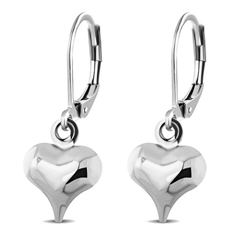 Drop Heart Earrings Jewelry (555Jewelry Womens Stainless Steel Heart Love Cute Dangle Drop Stud Dainty Small Simple Smooth Casual Everyday Gift Box Girls Kids Jewelry Fashion Accessory Lever Back Earrings, Silver)