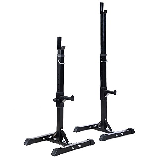Pair of Adjustable Standard Solid Steel Squat Stands Barbell Free Press Bench by onestops8
