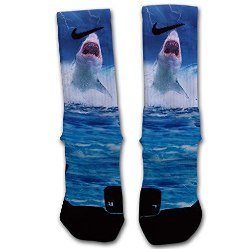 Custom Elite Socks Great White Shark - SHARK STRIKE (Large Elite)
