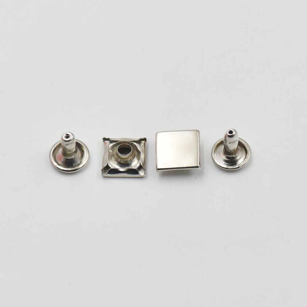 1//4,7mm 100 Pcs Metal Flat Square Rapid Rivets Studs Snaps Leather Craft for Handbag Bag Shoes Clothes