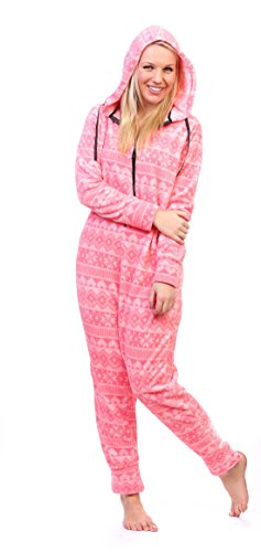 Womens Footed Pajamas - Totally Pink Women's Plush Warm and Cozy Character Adult Onesie/Pajamas/Onesie (Small, Pink Fair Isle)