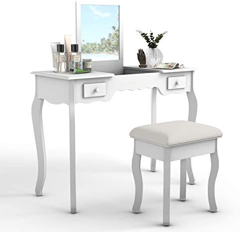 picture of Giantex Vanity Set - Flip Top Mirror and Cushioned Stool