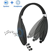 Sindcom Bluetooth Headphones Built-in Wireless Speaker Portable 2-in-1 Design Stereo Foldable Neckband Retractable Sweat-proof Earbuds 32 Hours Long Battery (Headphone) iPhone Android Devices (Black)