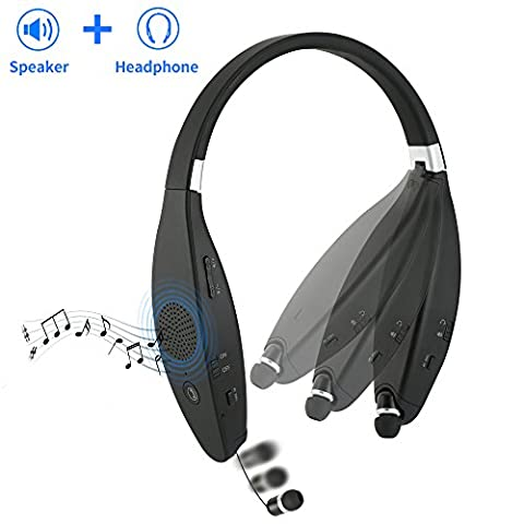Sindcom Bluetooth Headphones Built-in Wireless Speaker Portable 2-in-1 Design Stereo Foldable Neckband Retractable Sweat-proof Earbuds 32 Hours Long Battery (Headphone) iPhone Android Devices (Cvs Hours)