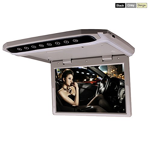 In Car Roof Mounted Overhead Flip Down MP3 MP4 MP5 Video Media Player LED HD Monitor with HDMI SD AV Input 16GB Card + Card Reader (10 Inch Grey Color)by HitCar - Flip Out Head Unit