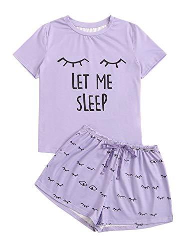WDIRARA Women's Sleepwear Closed Eyes Print Tee and Shorts Pajama Set Purple XXL]()