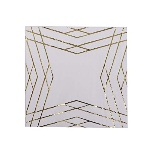 DesignReady 100-Pack White & Gold Foil Cocktail Napkins | 3-Ply 5x5 Inches Disposable Paper Beverage Napkins | Perfect for a Birthday Party, Anniversary, Wedding, Bachelorette, or Graduation -