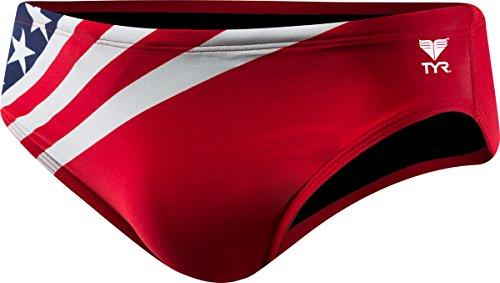 TYR Men's American Flag Racer Swimsuit, Navy/Red, 32