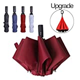YumSur Compact Travel Umbrella - Windproof, Reinforced Canopy, Tested in 60mph Winds, 10 Ribs Reinforced Windproof Umbrella, One Touch Auto Open/Close Multiple Colors for Men & Women (Red)