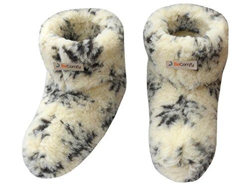 BeComfy Warme Hausschuhe Damen Herren Hüttenschuhe Aus Schafwolle Geschenkkarton (Wahlweise) Weiß und Grau