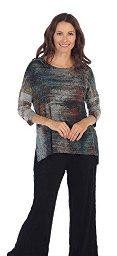 Jess & Jane Women's Yosemite Slinky Knit Side Slit Tunic Top (Large)