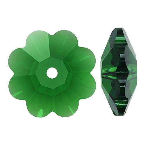 Swarovski Crystal, #3700 Flower Margarita Beads 8mm, 12 Pieces, Dark Moss Green Swarovski Crystal Margarita Beads