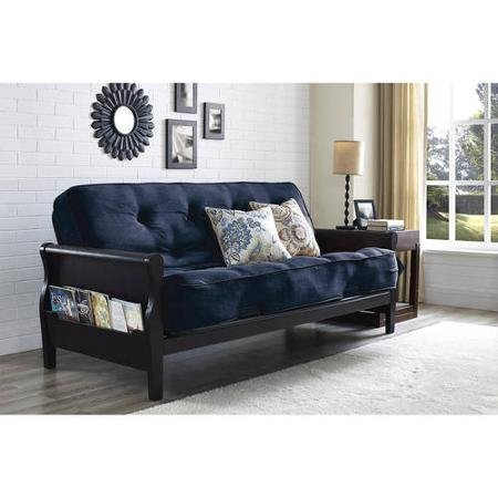 Better Homes and Gardens Wood Arm Futon with Coil Mattress, Navy Linen from Better Homes and Garden