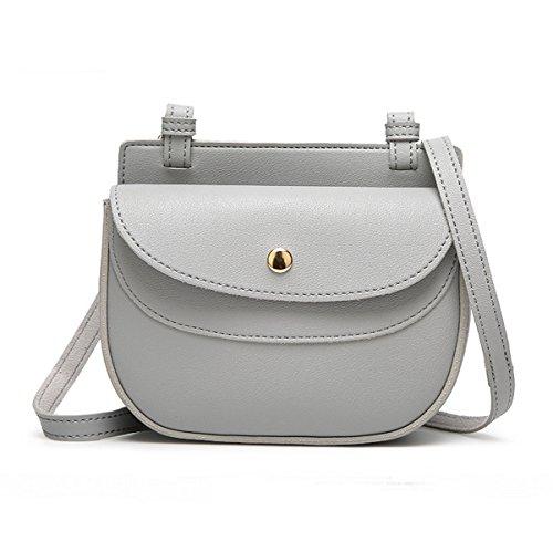 Señora Mini Vintage Pu Cuero Hombro Bolso Crossbody Bolsa Satchel Para Las Mujeres Multicolor Grey