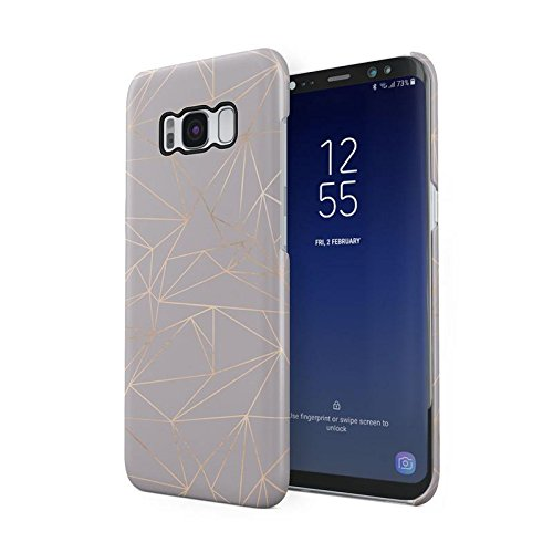 (Grey Texture Gold Geometric Shapes Pattern Protective Hard Plastic Snap-On Phone Case Cover For Samsung Galaxy S8)