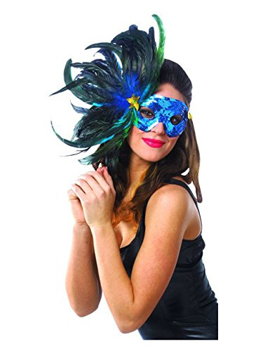 [Blue Feather Mask] (Vegas Showgirl Costumes)