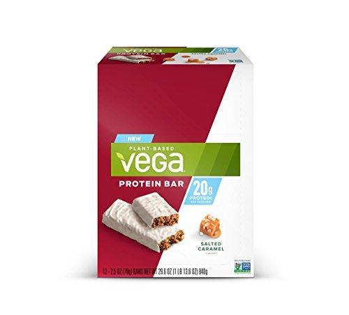 Vega 20g Protein Bar Salted Caramel (12 Count) - Plant Based Vegan protein, Non Dairy, Gluten Free, Non GMO