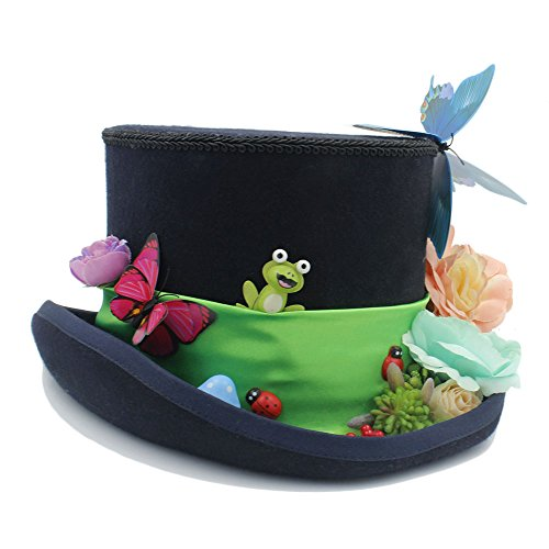 CNBEAU DIY Steampunk Top Hat With Forest Flowers MAD Hatter Hat For Women (Color : Black, Size : 61cm) by CNBEAU