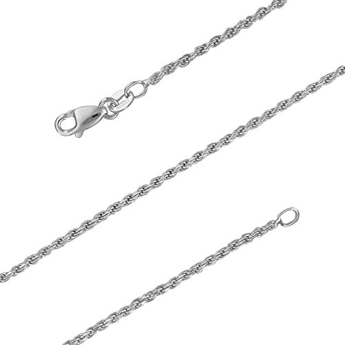 Italian Rope Chain Bracelet - Sterling Silver 1.5mm Diamond-Cut Rope Chain Bracelet Solid Italian Nickel-Free, 7 Inch