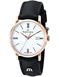 Women's EL1084-PVP01-110 Eliros Stainless Steel Watch with Black Leather Band