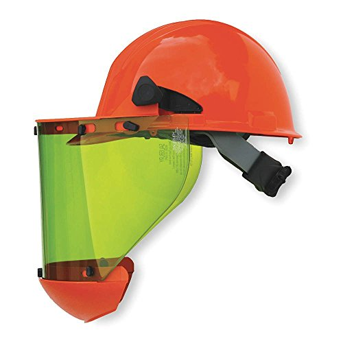Honeywell AS1000HAT W H Salisbury Hard Cap with Ratchet Suspension, Chin Guard and AS1000 Series Arc Flash Face Shield, Orange (Shield Chin Guard)