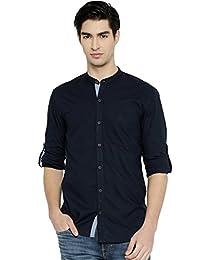 PIVOTO Men Navy Slim Fit Casual Shirt