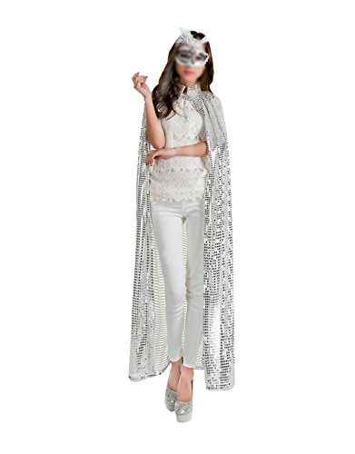 Self Made Costumes Halloween (Orfila Women Colored Sequin Cloak Full Length Halloween Cape Cosplay Costume Goddess Manteau,Silver)