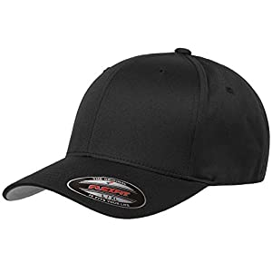 "6277 Flexfit Wooly Combed Twill Cap (Adult XXL (7 3/8"" - 8""), Black)"