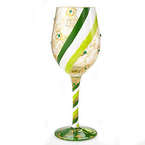 Lolita Shamrock St. Patrick's Day Artisan Hand Painted Wine Glass